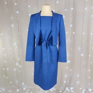 Anne Klein Work Wear Blue Dress With Jacket